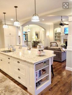 White kitchen off-white cabinets Sherwin Williams Conservative Gray New Venetian Gold Granite open layout open floor plan open concept hickory wood floors White kitchen off-w Küchen Design, Layout Design, Design Ideas, Interior Design, Floor Design, Diy Interior, Interior Modern, Design Concepts, Home Design