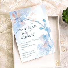 romantic dusty blue and peach watercolor floral wedding invitation kits EWI376 as low as $0.94