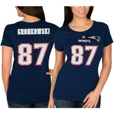 Rob Gronkowski New England Patriots Majestic Women's Fair Catch V Name & Number T-Shirt – Navy Blue
