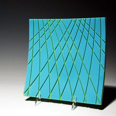 "Fused glass ""Turquoise & Spring Green Cathedral Dish"" by Robert Woldow…"