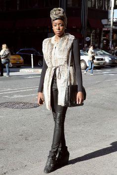 fuzzy vest + turban + leather
