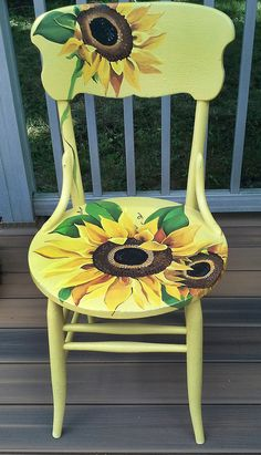 Hand painted and distressed sunflower chair