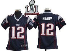 Patriots 12 Tom Brady Navy Youth 2017 Super Bowl LI Game Jersey http://www.mybestjerseystore.com/Product/?Sort=404