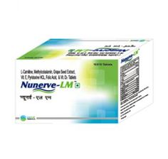 NUNERVE-LM is an ideal composition of L-Carnitine fortified with Mecobalamin, Folic Acid, Grape seed extract, Vitamin E & Vitamin D3 for #Diabetes, Cardiovascular diseases, muscle, #weakness etc