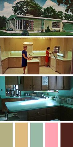 kitchen colors   colors through the years 1960 and 1970 1950s kitchen colors   petal pink turquoise green stratford      rh   pinterest com