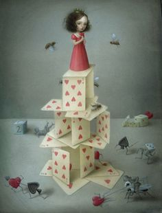 how i felt before the cards collapsed.  (this painting is by nicoletta ceccoli.)
