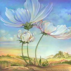 "OIL PAINTING ""In the Half-shadow of Wild Flowers"" by Anna Miarczyńska, via Behance"