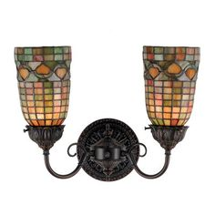 Meyda Tiffany 74053 2 Light Acorn Wall Sconce, Mahogany Bronze
