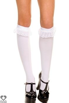 Music Legs Opaque Lace Ruffle Trim Knee High Socks 100% Nylon - Made in Taiwan SIZE : One Size [approx 6-14] MUSIC LEGS