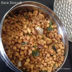 Kara boondi are great savoury treat and can be had as such or can be added to a variety of things like in raitas, chaats and as a par. Kara, Spicy, Beans, Canning, Vegetables, Food, Essen, Vegetable Recipes, Meals