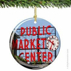 Pike Place Market in Seattle Porcelain Christmas Ornament