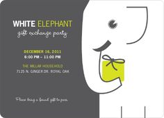 free printable holiday white elephant invitation templates  white, party invitations