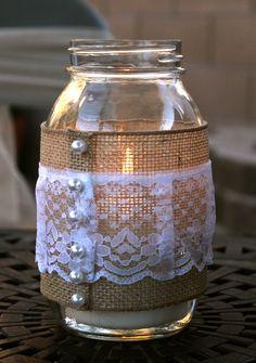 Rustic bridal shower decor - burlap and lace mason jar votive