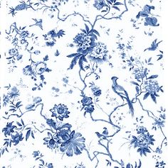 blue toile birds
