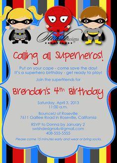 Super Hero Birthday Party Invitation printable by SwishDesigns, $15.00