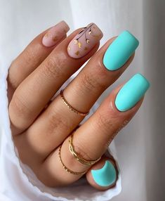 Square Acrylic Nails, Almond Acrylic Nails, Best Acrylic Nails, Funky Nails, Cute Nails, Stylish Nails, Trendy Nails, Turqoise Nails, Nail Shapes Square