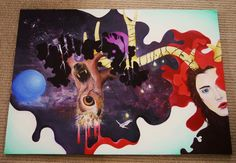 painting I did over 2 weeks, acrylic on wood. Owl, wolf, bear and human - Expand, Emily Jade