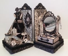 Couture Sewing bookends with a tiny mini album and bookmarks by Anne Rostad