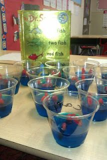 Jello cups with red fish to go with the book One fish, Two fish, Red fish, Blue fish by Dr. Seuss