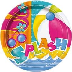 """Custom & Unique {9"""" Inch} 8 Count Multi-Pack Set of Medium Size Round Circle Disposable Paper Plates w/ Summer time Pool Party Accessories Beach Ball Design """"Teal, Orange, Pink, Yellow & Blue Colored"""""""