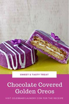 Sweet & Tasty - Chocolate Covered Golden Oreos - Recipe by Robyn Good via Celeb Baby Laundry