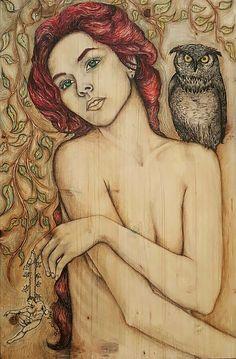 Lilith by Betül İpek Ahşap üzerine Karışık Teknik / Mixed Media on Wood 40cm x 60cm  #gallerymak #sanat #resim #istanbulmodern #sergi #ressam #galeri #sanatçı #istanbul #cagdassanat #kadın #yaratıcı #portre #figür #contemporary #contemporaryart #modernart #fineart #artwork #painting #oilpainting