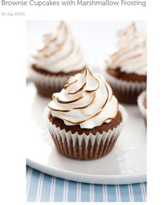 Brownie Cupcakes With Marshmallow Frosting