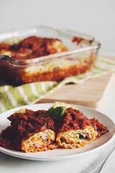 #vegan lasagna rolls with almond ricotta | RECIPE on hotforfoodblog.com