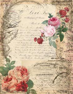 Papel Vintage, Decoupage Vintage, Decoupage Paper, Vintage Paper, Vintage Flowers, Vintage Scrapbook, Vintage Postcards, Vintage Pictures, Vintage Images