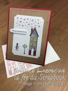 "Jeux d'étampes ""Comme chez nous / Holiday Home"" + Perforatrice / Punch ""Pléiades d'étoiles / Confetti Stars"" ... www.lafeeduscrapbook.com Christmas Holidays, Christmas Cards, Stampin Up, Scrapbook, Catalogue, Halloween, Comme, Punch, Card Ideas"