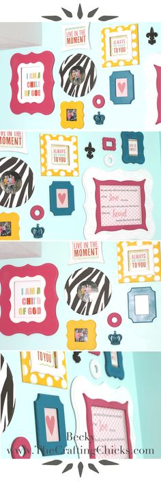 Such a fun idea!!! Love this colorful frame gallery.  Frames are from Poppy Seed Projects.  A great way to add color to a space. See how it's done on www.TheCraftingChicks.com. @craftingchicks #craftingchicks