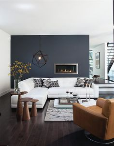 charcoal accent wall with gas fireplace