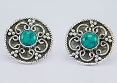 Turquoise Gemstone 925 Sterling Solid Silver Stud Earring s.17 mm SS-061