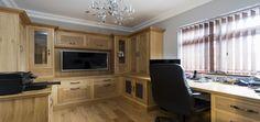 Solid oak home study with shaker style doors #oak #homeoffice #study #shakerdoors #homestudy #officefurniture #officedesign #bespokefurniture #furniture #custommade #luxuryhomes #oakshakerdoors