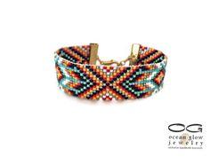 Native American bead loom bracelet  friendship by OceanGlowJewelry
