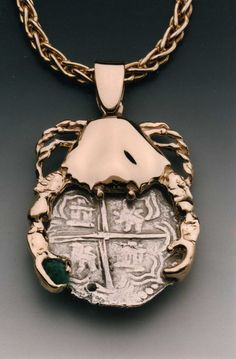 14k  Crab Pendant with authentic coin from the Atocha shipwreck site: 1200.00