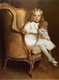 john white alexander portrait of a young girl with her doll paintings