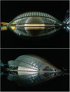 L'Hemisferic derives its form from the human eye and functions as an Imax theatre and planetarium. Each side of the eye-shaped building opens and closes like the eyelids of an eye