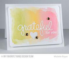 Words of Gratitude Die-namics, Blueprints 11 Die-namics, Heart STAX Die-namics, Thankful Thoughts Stamp Set - Michele Boyer #mftstamps