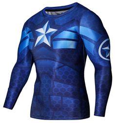 Captain America Blue Fitness Longsleeve