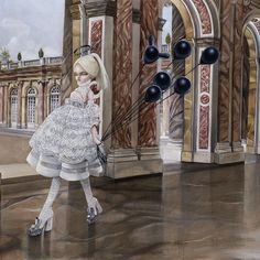 The Last Party new painting from my new solo show Haute Debutante. On display until sept 27th at AFA Gallery NYC #HauteDebutants #kukula #McQueen #versailles #Alexandermcqueen #petitTrianon #MarieAntoinette #foreverrococo #rocokula by dear_kukula