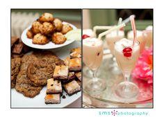 Austin Catering's Chocolate Chip Cookies, Raspberry Cheesecakes Bites, Fudge Brownies, Coconut Macaroons, and Mini Chocolate Milkshakes