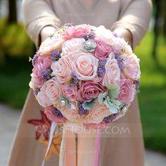 [€ 38.48] Round Satin/Silk Bridal Bouquets - (123114696)