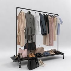 set model Womens and mens wardrobe bag blouse clothes, available in MAX, FBX, ready for animation and other projects