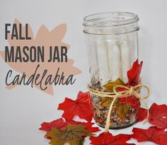 No matter what level crafter you are, anyone can do this easy fall mason jar craft to make their own Fall Mason Jar Candelabra. See Clumsy Crafter's tutorial. Thanksgiving Crafts, Thanksgiving Decorations, Fall Crafts, Halloween Crafts, Crafts To Make, Arts And Crafts, Diy Crafts, Uses For Mason Jars, Fall Mason Jars