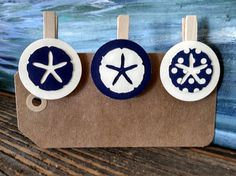 Set of 12 star fish clothespins. Use at a baby shower to hang photos or a nautical wedding. Find on sweetthymes.etsy.com