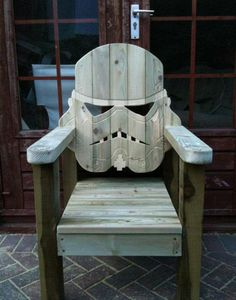 Storm Trooper deck chair @PeterDiCicco this is approved for our future patio. I can see the baby Wookie dog curled up on top like the perfect cherry on top!