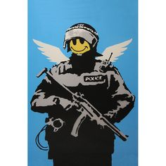 iART Banksy 'Happy Face Flying ' Print Wall Art