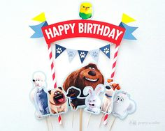 Secret life of Pets Cake Topper Secret life of от soprettyincolor Animal Birthday, 8th Birthday, Happy Birthday, Birthday Party Decorations, Party Themes, Pets Movie, Cake Banner, Secret Life Of Pets, Movie Party