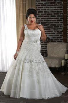 Trumpet/Mermaid Straps Court Train Tulle wedding dress - IZIDRESSES.com at IZIDRESSES.com